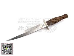 """FOX Knives 意大利狐狸 593 """"FAIRBAIRN """"N690钢 胡桃木柄 荷兰突击队专用双刃""""直"""""""