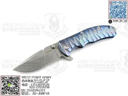 "KIZER KI401C1 CPM-S35Vn钢 彩色水纹热处理6AL4V Titanium 钛金属柄""折"""