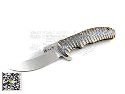 "KIZER KI4401X2 CPM-S35Vn钢 彩色雨点纹热处理6AL4V Titanium 钛金属柄""折"""
