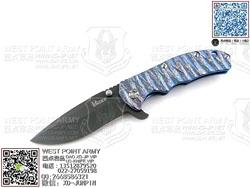 "KIZER  Ki401B2 CPM-S35Vn钢 冰蓝色热处理6AL4V Titanium钛金属柄""折"""