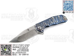 "KIZER KI4469A2 CPM-S35Vn钢 蓝色热处理6AL4V Titanium 钛金属柄""折"""