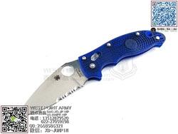 "Spyderco 蜘蛛 C101PSBL2 Manix2 Blue Lightweight 马尼克斯2代 半齿蓝色轻型""折"""