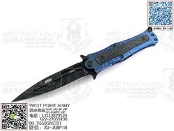 "HTM DDR MM4SBLB Madd Maxx 4系列 CPM S35VN DLC钻石涂层 蓝色波浪热处理航空钛合金柄 手工助力快开""折"""