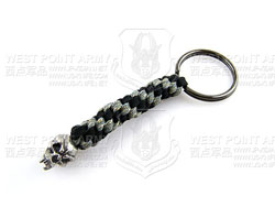 schmuckatellico Fang Key Fob - Pewter on Black & Digi w. Hematite Ring 骷髅钥匙扣