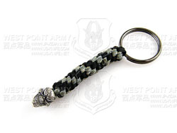 schmuckatellico Grins Key Fob - Pewter on Black & Digi w. Hematite Ring 骷髅钥匙扣