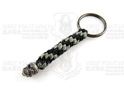 schmuckatellico One Eyed Jack Key Fob - Pewter on Black & Digi w. Hematite Ring 海盗杰克骷髅钥匙扣