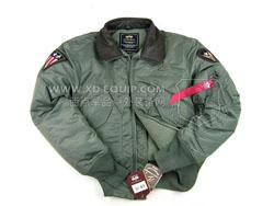 美国 Alpha 阿尔法 45P皮领 经典男士空君飞行棉夹克 绿色(现货)